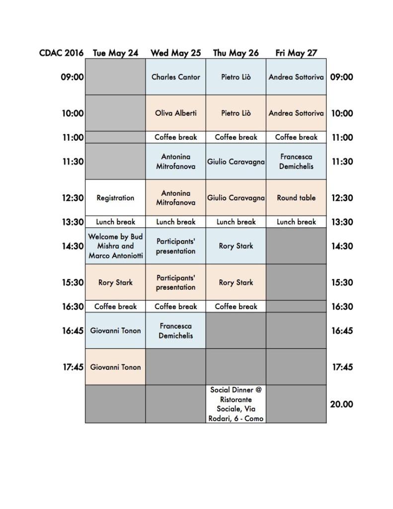 20160121 Schedule CDAC 2016 Schedule